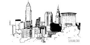 Cleveland Ohio cityscape sketch trace black and white