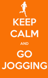 Keep calm and go jogging quote on orange background