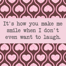 Smile saying with pink hearts